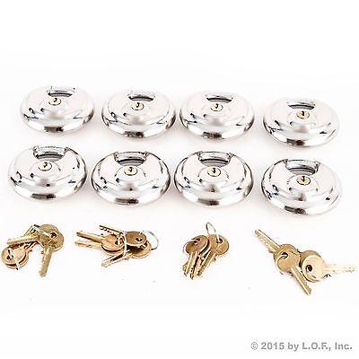 8 Armor Disc Padlock Trailer Brass Cylinder Storage Locks Stainless Keyed Same