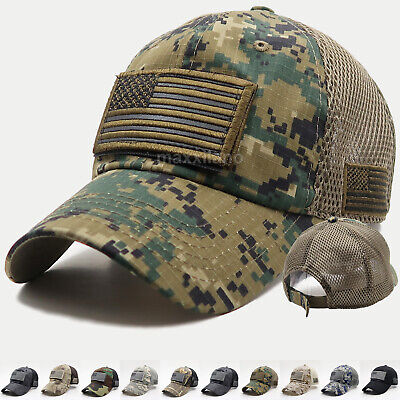 Cotton Military Cap Hat - USA American Flag Hat Detachable Patch Cotton Baseball Mesh Military Army Cap