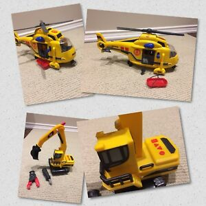 Caterpillar construction set or Tonka Rescue Helicopter
