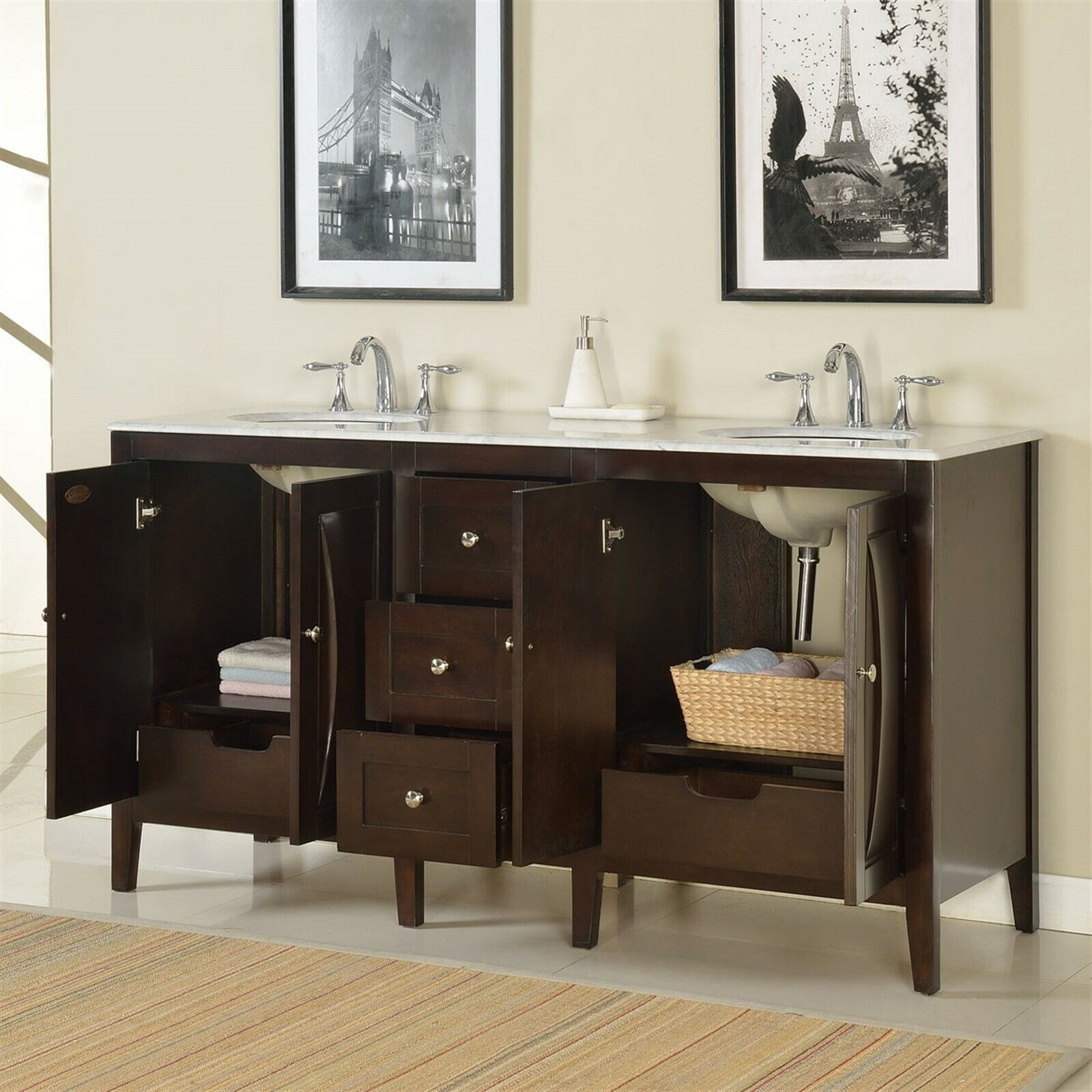 68 Inch Marble Stone Counter Top Bathroom Vanity Double Sink Cabinet 0269w 609224900815 Ebay