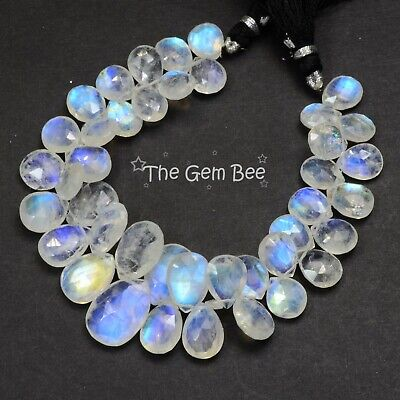 Rainbow Moonstone Faceted Pear Briolette Bead 7.5 inch strand