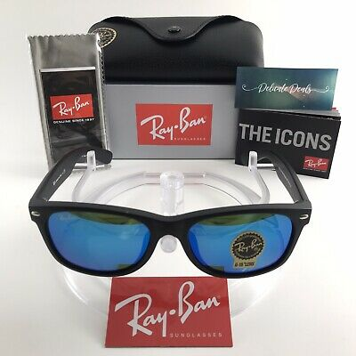 Ray Ban RB2132 New Wayfarer Flash Matte Black / Blue Flash Lens Sunglasses 52mm