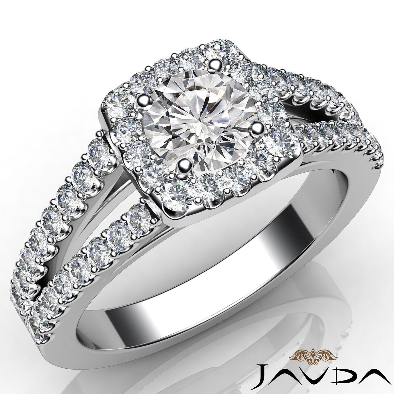 Round Cut Split Shank Diamond Engagement French Pave Set Ring GIA E SI1 1 1/4ct.