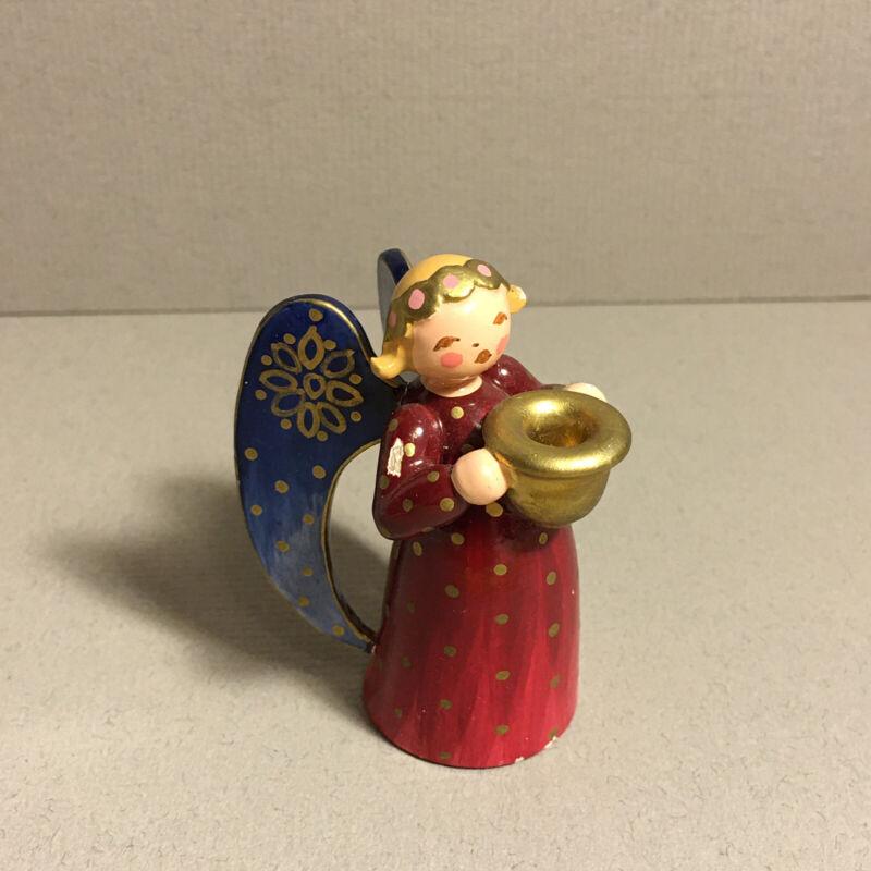 """Vintage Erzgebirge Expertic Angel Candle Holder 2"""" Labeled"""