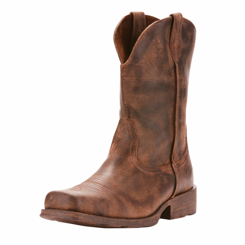 Ariat, 10025171, Men, Rambler, Square, Toe, Distressed, Leather, Western, Cowboy, Boots