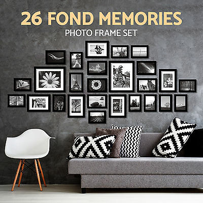Photo Frame Set Wall Mounted Picture Display Modern Art 26PCS Black Home Décor