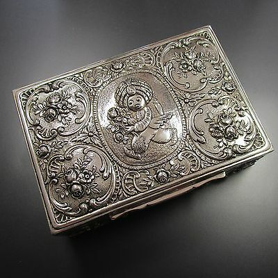 Große 640 Gramm schwere handgearbeitete Dose aus 800 Silber mit Sarotti Mohr