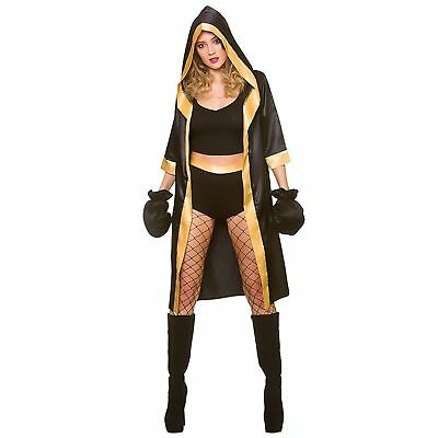 Knockout Boxer Fighter Boxing Warrior Champion Adults Womens Fancy Dress Costume