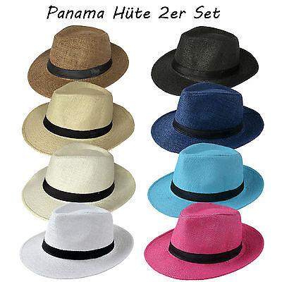 Damen Panama-hut (2 Stück Set Panama hüte Strohhut Trilby Hut Gartenhut Sommerhut Herren Damen)