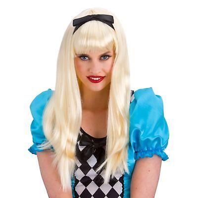 Blonde Storybook Alice in Wonderland Wig Adult Womens Fancy Dress Costume - Alice In Wonderland Wig