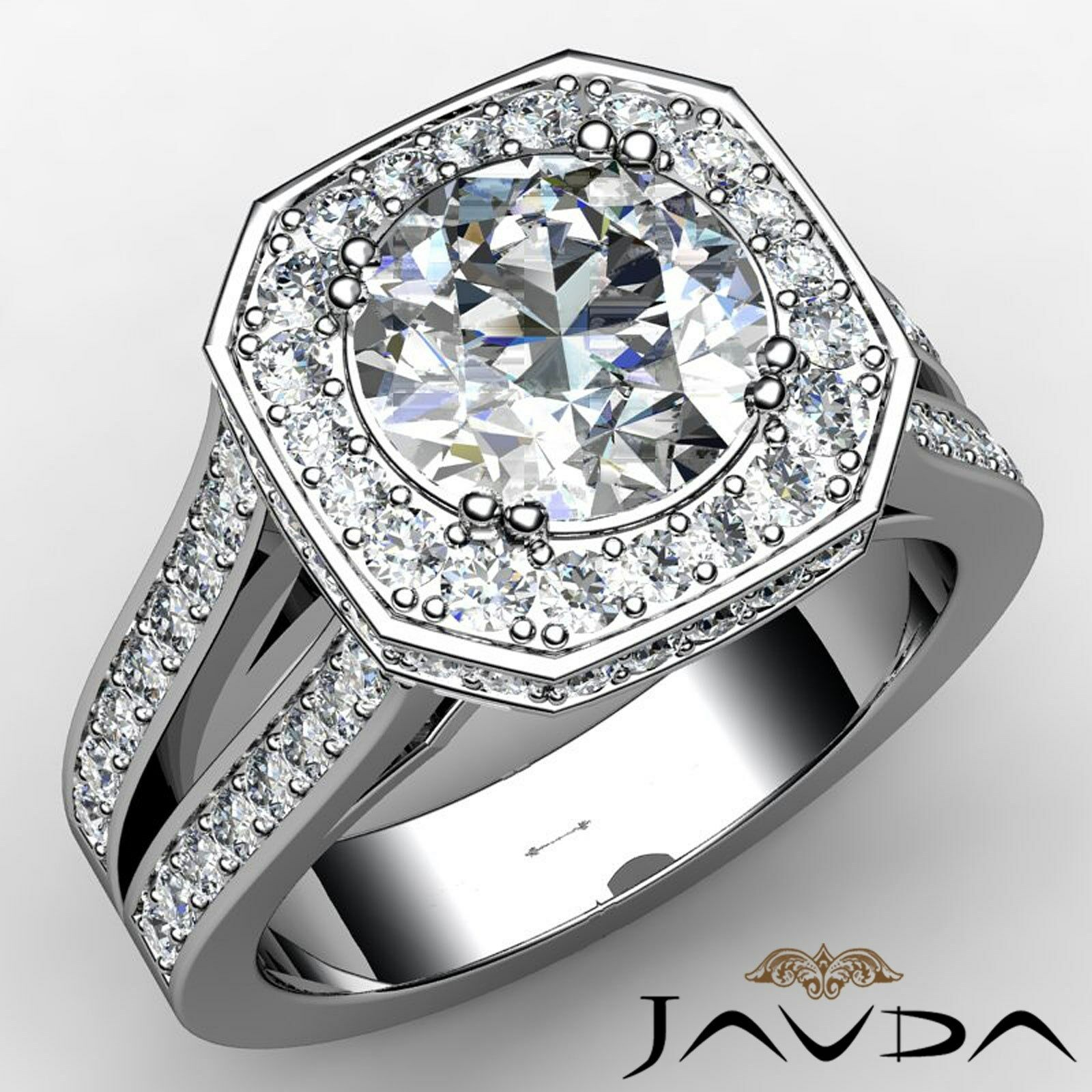 Split Shank Halo Round Cut Diamond Engagement Double Prong Ring GIA I VS2 2.84Ct