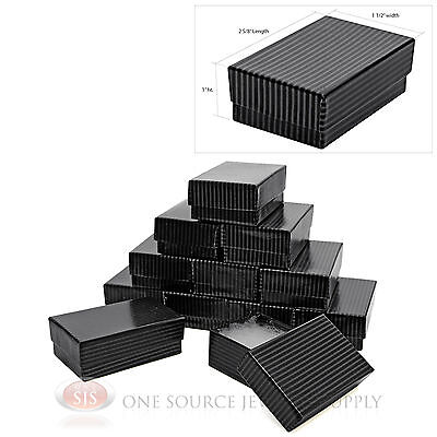12 Black Pinstripe Cotton Filled Gift Boxes 2 58 X 1 12 Pendant Jewelry