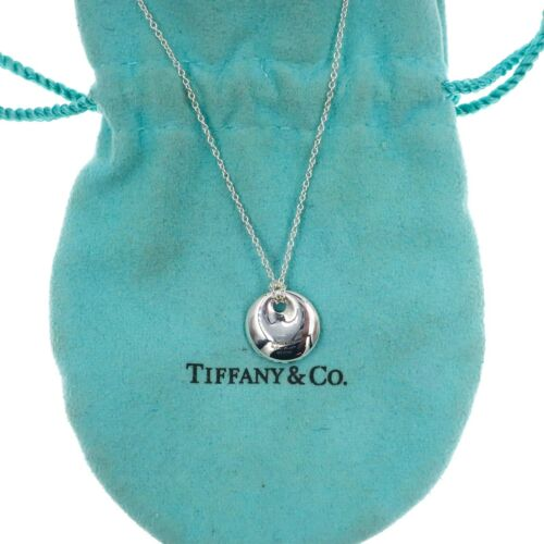 "Tiffany & Co Elsa Peretti Sterling Silver Round Pendant and 16"" Necklace"