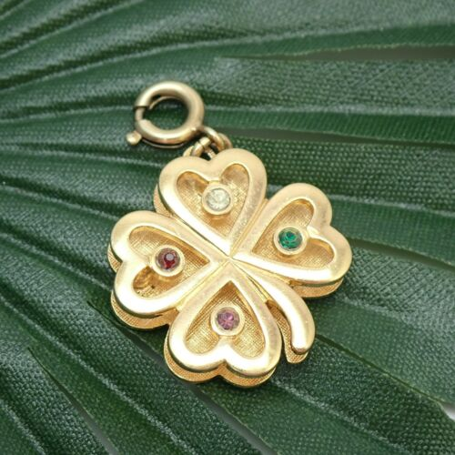 Vintage Monet Gold Tone 4 Leaf Clover Clip On Charm From 1970