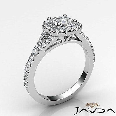 French Set Pave Split Shank Halo Asscher Diamond Engagement GIA G VVS2 Ring 1 Ct 1