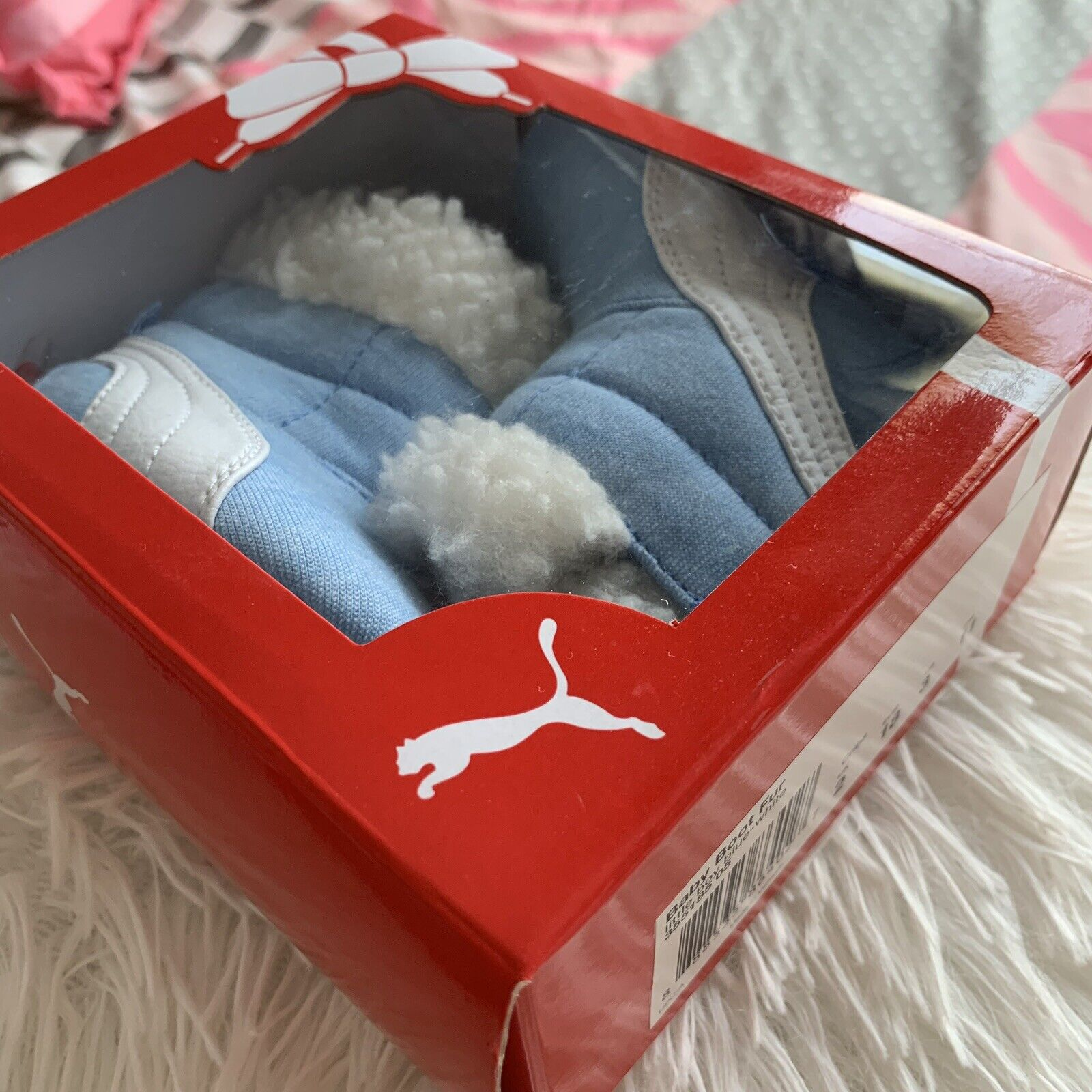 PUMA Baby Boy Blue/White Fur Boot In Gift Box US Size 3