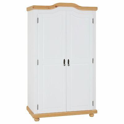 Kleiderschrank Dielenschrank Garderobenschrank Kiefer weiß/braun 2 Türen