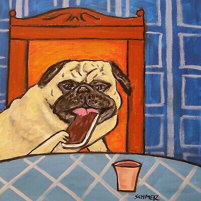PUG ICE CREAM SANDWICH  animal ceramic DOG pet art tile coaster artwork gift Dog Ice Cream Sandwiches