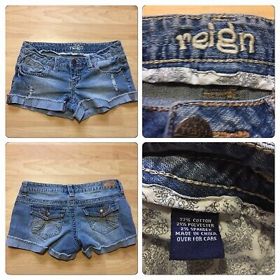 REIGN Size 3 Shorts Jeans Distressed Rolled-Up Spandex 2% Distressed Spandex Shorts