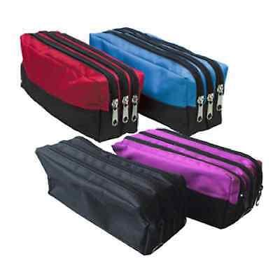 Triple Pocket Pencil Case Zip Large Rectangular Fabric Assorted Colours School