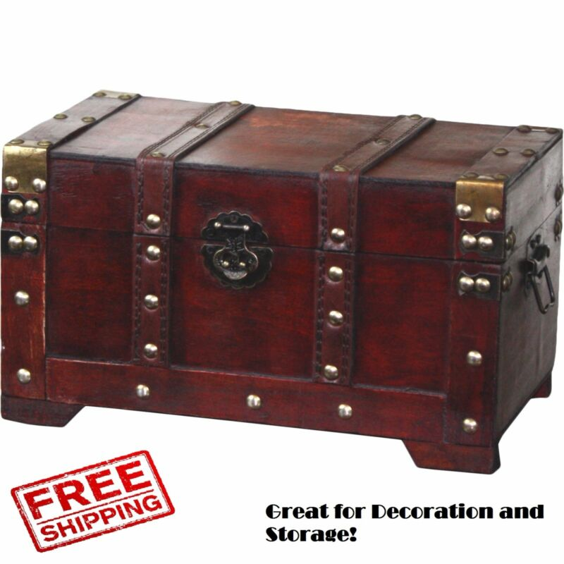 Wooden Trunk Chest Antique Small Steamer Wooden Vintage Box Storage Decorative