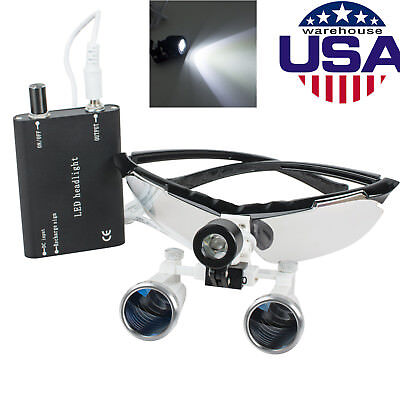 Dental Loupes 3.5x 320mm Surgical Binocular Optical Glass Head Light Led Lampus