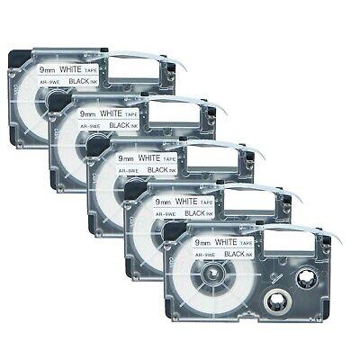 Us Stock 5pk Xr-9we Black On White Label Tape For Casio Ez Printer 38 X 26