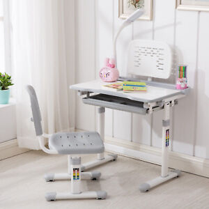 5a2702dbe70 Grey Adjustable Children s Study Desk Chair Set Child Kids Table with LED  lamp