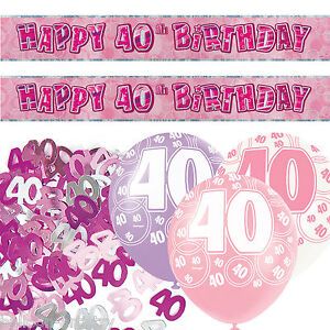 pink silver girl glitz 40th birthday banner party