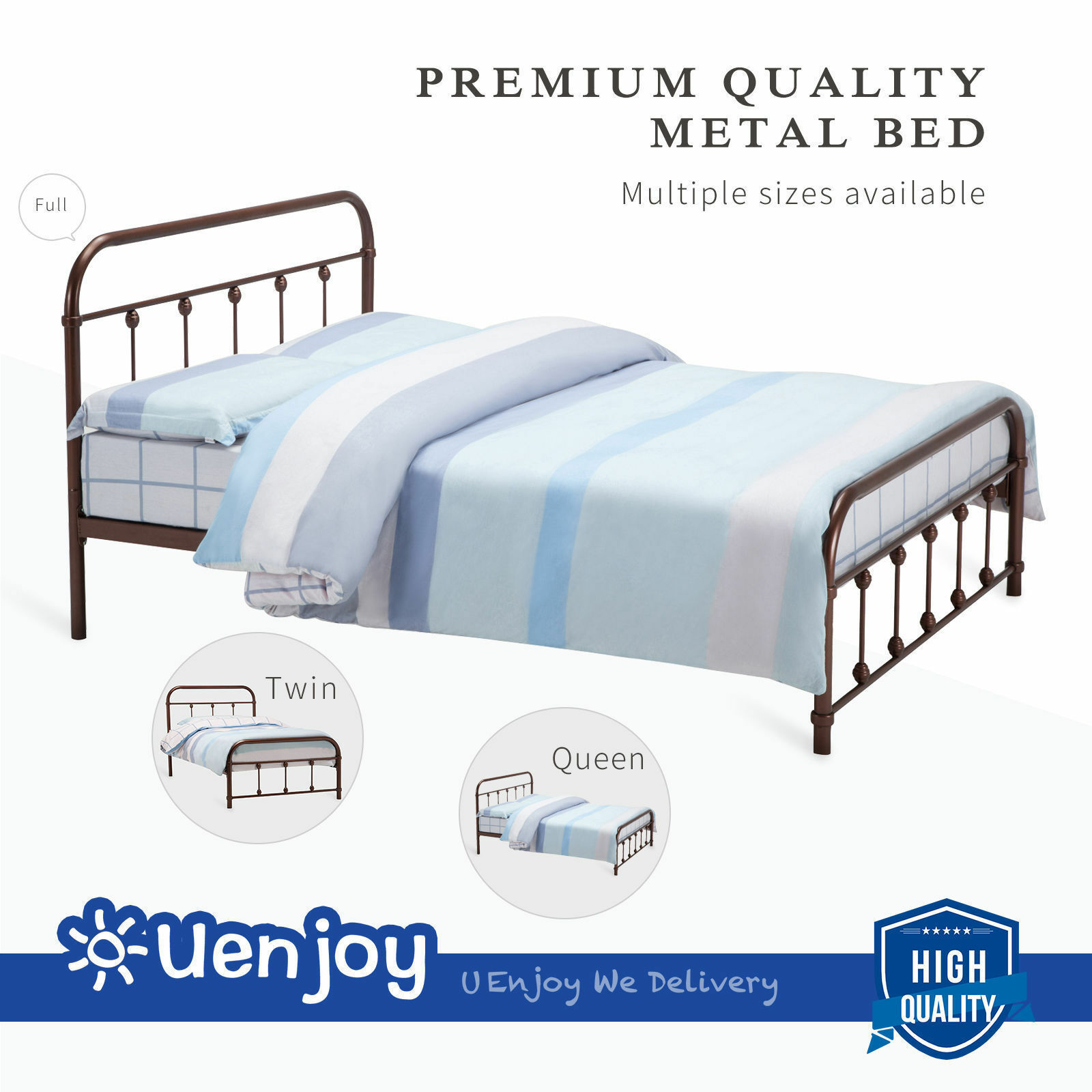 Full Bed And Queen Bed: Metal Bed Frame Platform Twin Full Queen Size With
