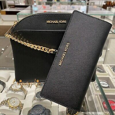 Michael Kors Jet Set Travel Dome Crossbody Saffiano Leather Bag + Wallet Black