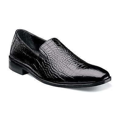 Stacy Adams Mens Black Galindo Leather Crocodile Print Party Trending Dress Shoe - Crocodile Party