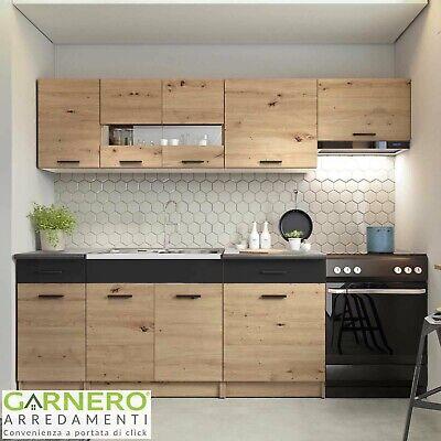 Cucina moderna completa standard ERIKA grigio rovere 240 cm con pensili design
