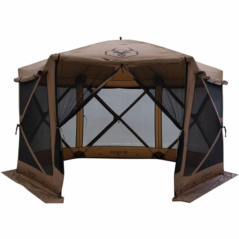 Gazelle Tents G6 Portable Deluxe Pop Up 6 Sided Hub Gazebo Screen Tent, Brown