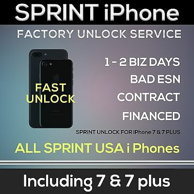 SPRINT PREMIUM FACTORY UNLOCK SERVICE CODE iPHONE 7 PLUS 6S 6 5S ALL