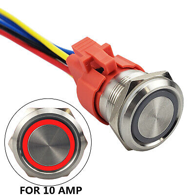 All New Design 10 Amp 22mm Latching Push Button Switch 12v 1no1nc Waterproof