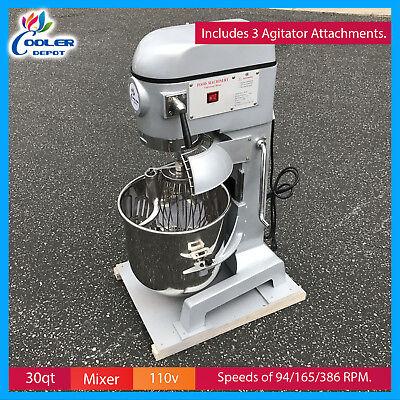 30 Quart Mixer Machine 3 Speed Bakery Kitchen Equipment Food Dough Cooler Depot