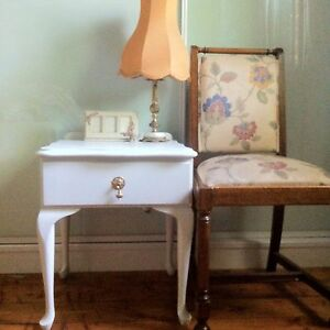 Pretty Shabby Chic French White Bedside Table - 1 Drawer Bexley Rockdale Area Preview