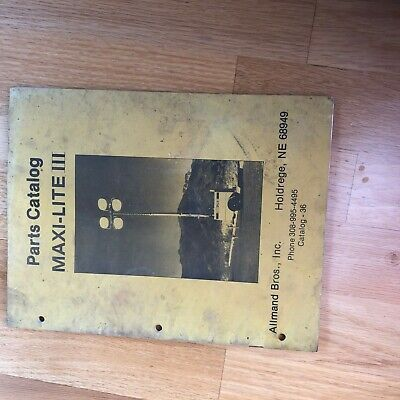 Allmand Maxi-lite Iii Light Plant Parts Book Manual Catalog