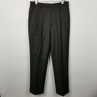 Incotex Venezia 1951 Super 100 Dark Olive Green Pleated Cuffed Dress Pants 32x32