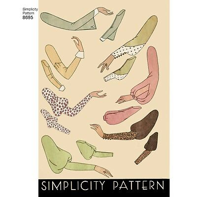 1930s Sewing Patterns (S8695 Style 1930's Simplicity SEWING PATTERN Set of Vintage Sleeves Sizes 10-22 )