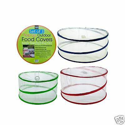 3 Pc Handy Helpers POP UP OUTDOOR COLLAPSIBLE MESH FOOD COVER PICNIC BBQ CAMPING