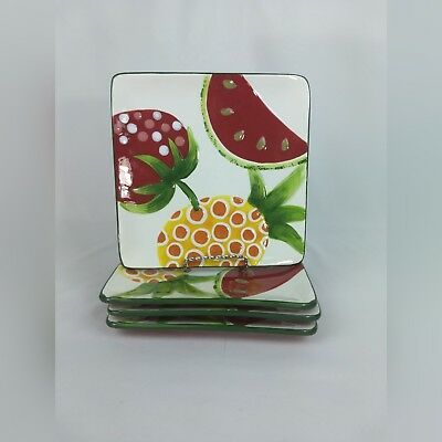 Kohls Fruit Salad Collection Plates Square Summer Ceramic Colorful