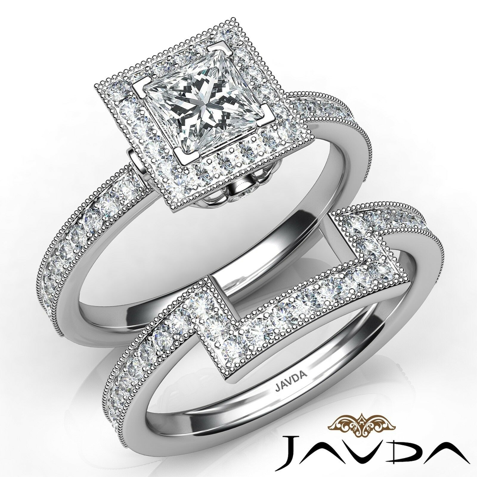 1.9ct Milgrain Edge Bridal Set Princess Diamond Engagement Ring GIA F-VS2 W Gold