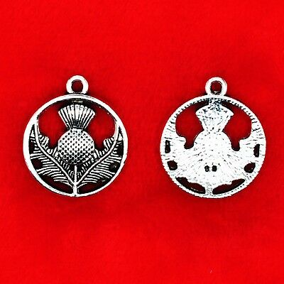 15 x Tibetan Silver THISTLE Symbol of SCOTLAND National Flower Charms Pendants National Silver Thistle