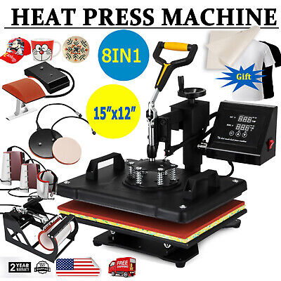 8 In 1 Digital Transfer Heat Press Machine T-shirt Mug Hat Sublimation Combo Kit