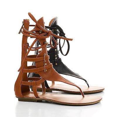 Avis2 Strappy Mid Calf Gladiator Flat Thong Sandals
