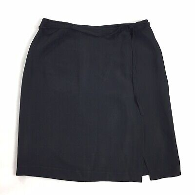 DKNY Tie Waist Skirt SIZE 8 Womens Black Fitted Medium Career Bottom EUC