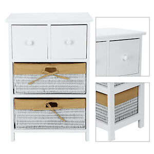 panier tiroir armoire en osier c t de table meuble de rangement en bois blanc ebay. Black Bedroom Furniture Sets. Home Design Ideas