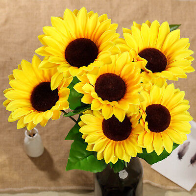 5 Yellow Silk Sunflower Bushes with 45 Flowers Wedding Discounted Centerpieces Bushes With Yellow Flowers